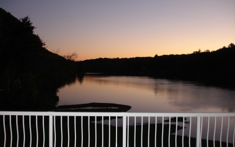 view of river and surrounding trees during sunset