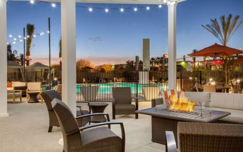 Poolside patio with firepit