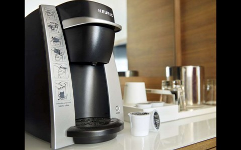 coffee maker in guest room