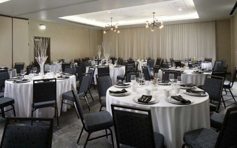 Banquet room with round tables