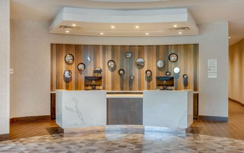 Front desk with white marble counters