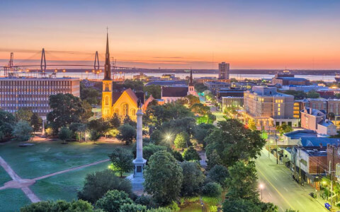view of charleston city during sunset