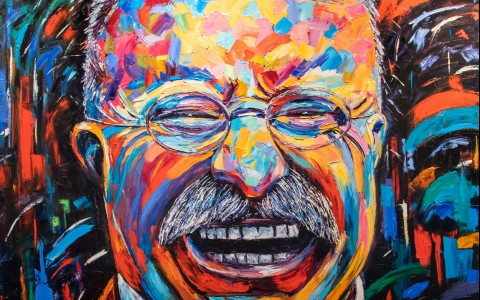 colorful artwork of a man laughing