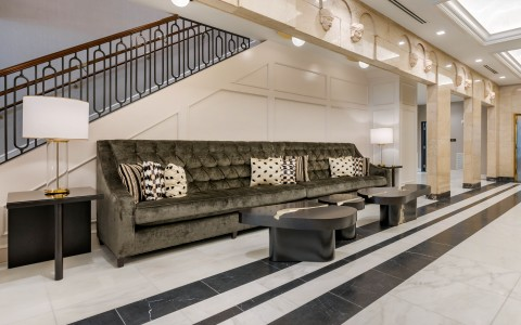 long sofa in lobby
