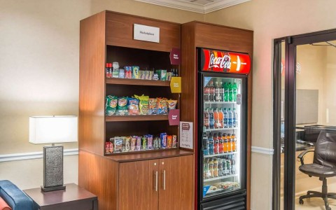 Hotel marketplace with snacks and chilled drinks