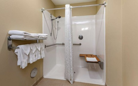 a bathroom with roll-in shower