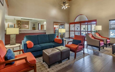 lobby with blue and orange furniture