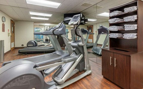 the fitness center with treadmills