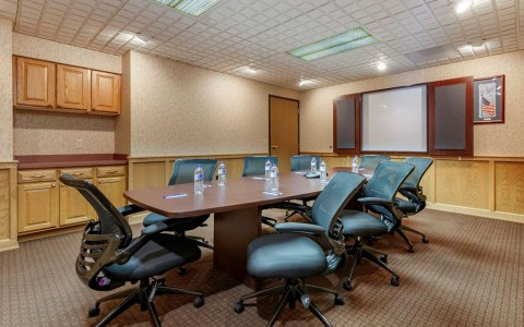 a small boardroom set for a meeting