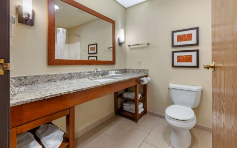 the bathroom inside of a guest room