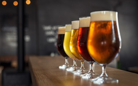 row of different colored beer flight
